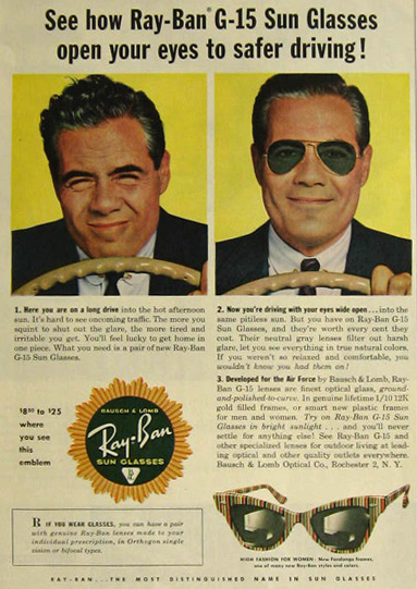 5a96207589b Ray-Ban (Bausch   Lomb) Vintage Sunglasses Ads - Sunglasses and ...