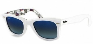 white ray-ban wayfarers blue lens