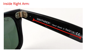 b31dc8c643 how to tell if you have purchased real ray-ban wayfarers. Left Temple Arm