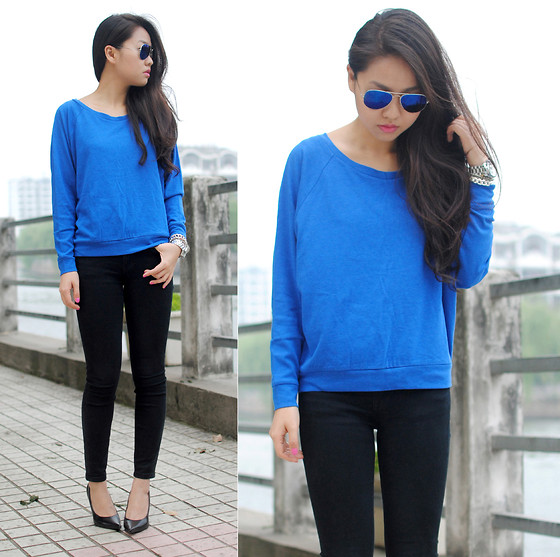 ray ban blue mirrored sunglasses get the look