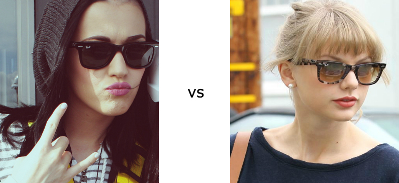 katy perry vs taylor swift ray-ban wayfarers