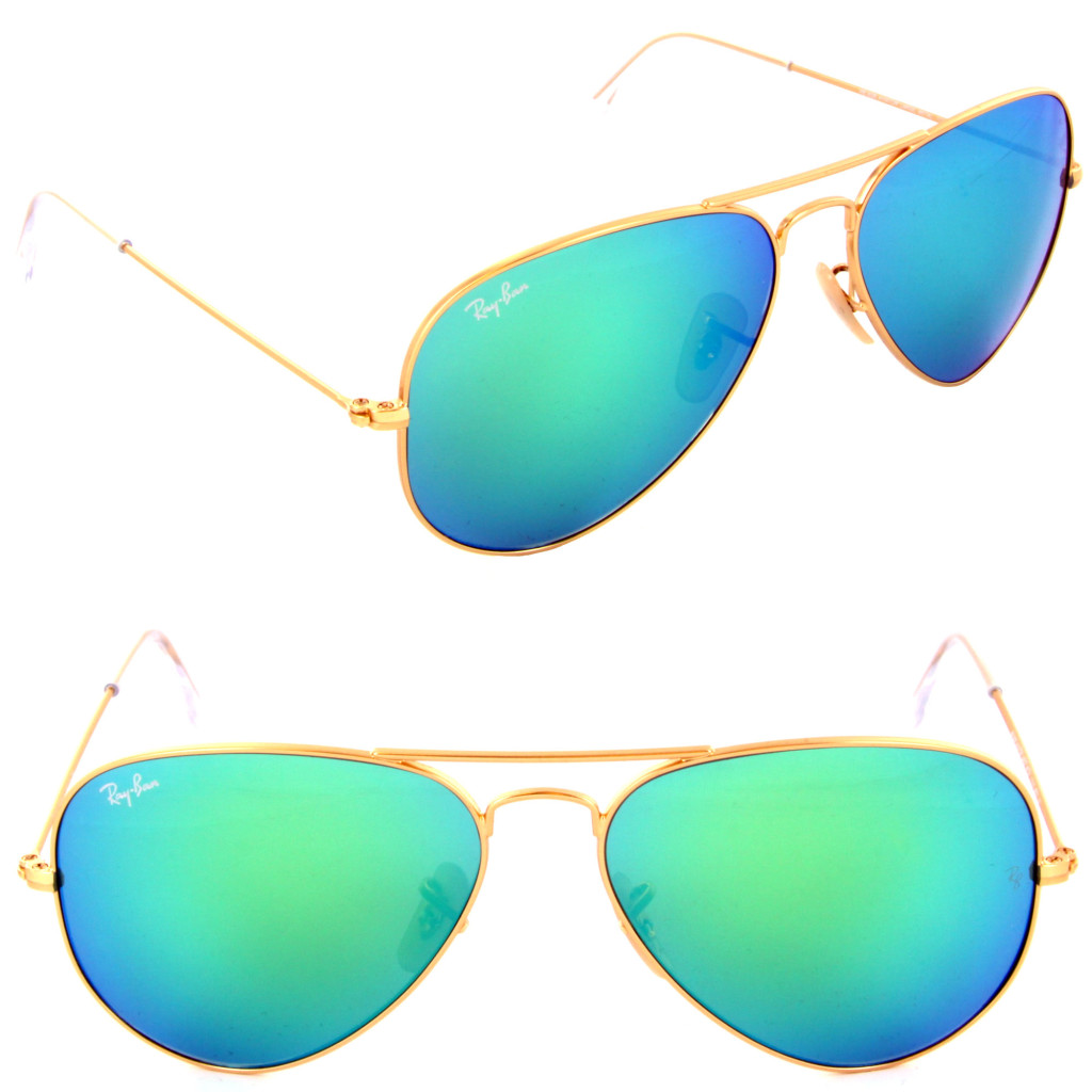ray ban green mirror aviators