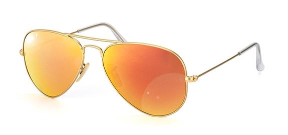 RAY BAN AVIATOR MATTE GOLD ORANGE MIRRORED SUNGLASSES RB 3025 112/4D