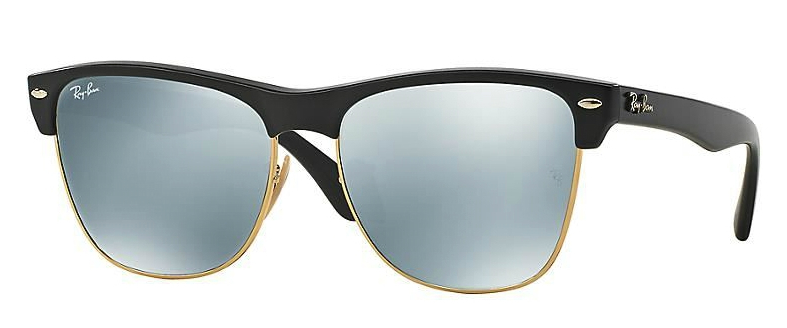 RAY BAN OVERSIZED CLUBMASTER SUNGLASSES RB4175 BLACK / SILVER MIRROR