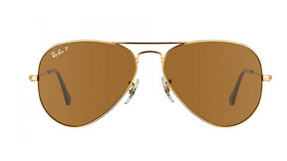 RAY-BAN AVIATORS GOLD WITH BROWN LENSES RB 3025