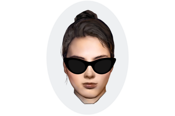 Oval Face shape with cat-eye sunglasses